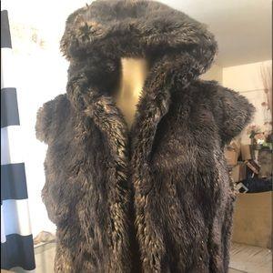 Bebe faux fur hooded vest for women 🎉✨🌹